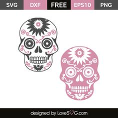 Create your DIY projects using your Cricut Explore, Silhouette and more. The free cut files include SVG, DXF, EPS and PNG files. Vinyl Crafts, Vinyl Projects, Candy Skulls, Sugar Skulls, Skull Silhouette, Silhouette Files, Freebies, Halloween Stickers, Free Svg Cut Files