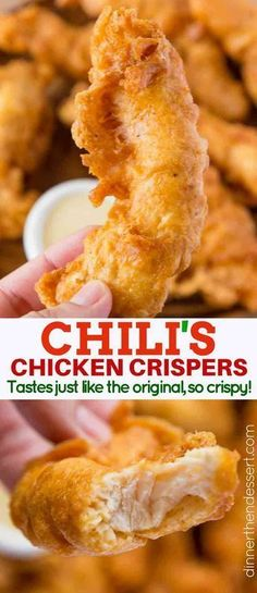 Chili's Chicken Crispers (Copycat)Chili's Chicken Crispers copycat with the delicious shatteringly crispy crust that Chili's crispers famously have, but made at home! So easy to make and also a great batter for fish too! Chili's Chicken Crispers Bac. Turkey Recipes, Meat Recipes, Appetizer Recipes, Cooking Recipes, Meat Appetizers, Appetizers Superbowl, Game Recipes, Recipes For Two, Snacks