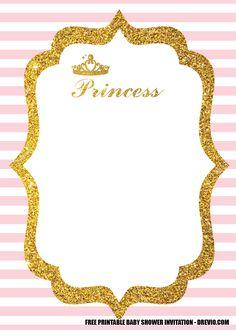Free Printable Birthday Invitations, Baby Shower Invitation Templates, Party Invitations, Disney Invitations, Baby Shower Princess, Pink Princess, Princess Theme Birthday, Barbie Birthday, Princess Invitations