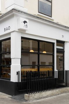 Bun, bun, bun: London's bao maestros have done it again with a third addition to their pillowy bun empire… – Exterior Cafe Design, Store Design, Shop Front Design, Bao London, Shop Facade, Cafe Shop, Article Design, Shop Fronts, Restaurant Design
