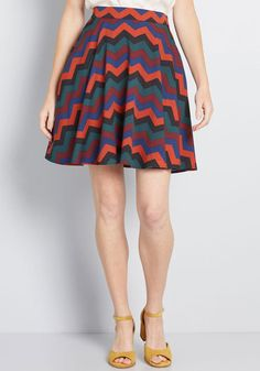 You'll definitely have that swing when you step out in this multicolored skater skirt! A jewel-toned offering from our ModCloth namesake label, this elasticized-back A-line touts a vintage-inspired, high-waisted design with handy hidden pockets and a chev A Line Skirts, Short Skirts, Skirt Outfits, Cool Outfits, Blue Skater Skirt, Skater Skirts, Women's Skirts, Celebrity Fashion Looks, Celebrities Fashion