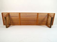 "Bottom view of 72"" solid birch George Nelson Slat Bench for Herman Miller circa 1950s. Sold by Just in Modern, Berkeley."