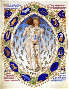 Zodiacal Man.  Les Très Riches Heures du Duc de Berry, 1413. -kai astrologian harrastajille on tehty tästä laadukas juliste seinälle pantavaksi