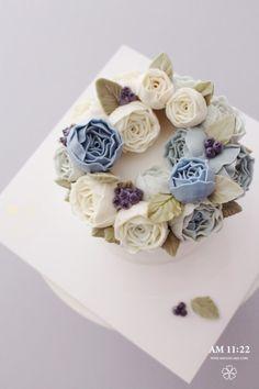 Blue Peony Flower cake_생신 플라워케이크 : 네이버 블로그 – Famous Last Words Korean Buttercream Flower, Buttercream Flower Cake, Cake Icing, Gourmet Cakes, Beautiful Cupcakes, Floral Cake, Elegant Cakes, Cake Decorating Tips, Wedding Cake Toppers