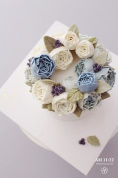 Blue Peony Flower cake_생신 플라워케이크 : 네이버 블로그
