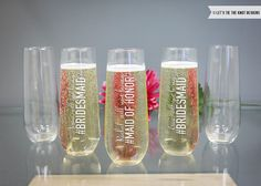 Personalized Will You Be My Bridesmaid Champagne Glass (ONE) Custom Engraved Stemless Toasting Flute, Personalized Bridesmaid Gift - Let's Tie The Knot on Etsy