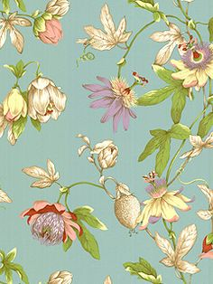 Tropical Floral wallpaper from York Wallcoverings Floral Fabric, Floral Prints, Wallpapering Tips, Fabric Wallpaper, Paper Background, Chinoiserie, Vintage Designs, Printing On Fabric, Print Patterns