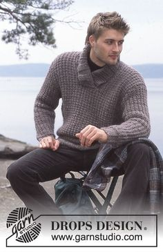 Wallander - Men's knitted pullover with shawl collar and texture in DROPS Eskimo - Free pattern by DROPS Design Chunky Knitting Patterns, Knitting Kits, Knit Patterns, Free Knitting, Drops Design, Mens Shawl Collar Sweater, Men Sweater, Ravelry Crochet, Knit Crochet