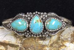 """Beautiful, elegant Sterling silver and blue turquoise Native American cuff bracelet by """"Carol Felley"""". This is a beautiful and elegant bracelet in excellent condition.   eBay!"""