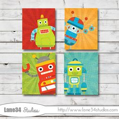 Hello there Peek A Boo Robots Kids Art Print - Home Decor, Nursery Art, Wedding, Anniversary Gift Digital Print