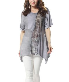 Look at this Simply Couture Gray Floral Sash Tunic on #zulily today!