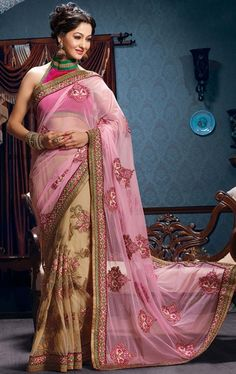 Picture of Ethnic Peach and Cream Fashion Designer Saree