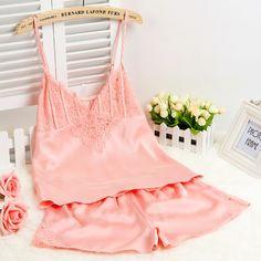0 - Cool 2015 New Women Sexy Silk Satin Pajama Set Lace Pyjama Set Plus  Size a4664f155