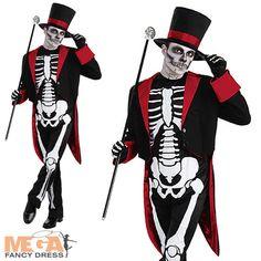 Mr Bone Jangles Mens Skeleton Halloween Fancy Dress James Bond Vodoo Costume | eBay