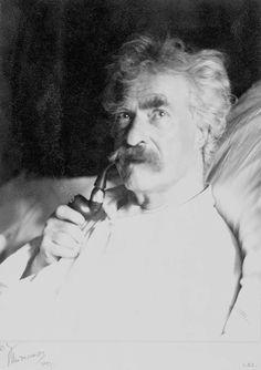 Mark Twain.  http://upload.wikimedia.org/wikipedia/commons/7/71/Mark_Twain_with_pipe,_1906.jpg