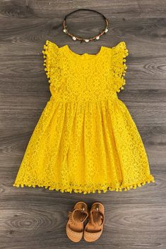 The Emilee Lace Dress - MUSTARD| summer kid's fashion | tropical kid's fashion | yellow | summer dress |