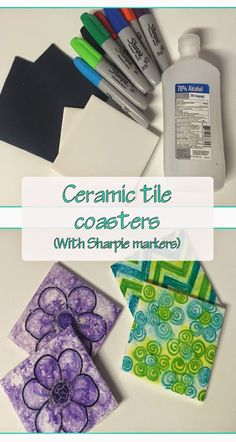 Ceramic tile coasters with just sharpies and rubbing alcohol!