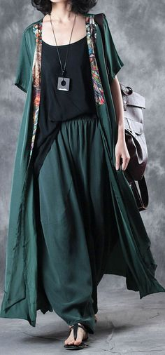 NEW BLACKISH GREEN UNIQUE SILK PANTS OVERSIZE CASUAL WOMEN TROUSERS