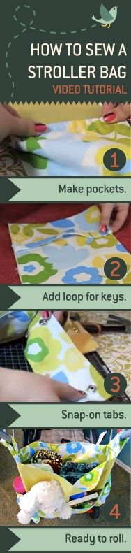 A Walk In The Park Stroller Bag DIY by madebymarzipan: It snaps onto any stroller's handles so it's easily accessible and features two elasticized side pockets for bottles or sippy cups, a loop for your key ring or a pacifier, two front pockets for snacks and toys, and a large inner pocket for everything else! Check out the instructional video.