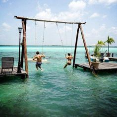 Swings over the ocean