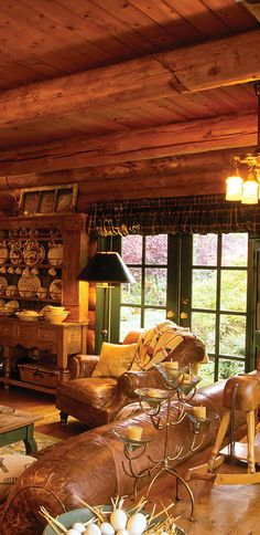 Rustic log home interior - Green doors. I can see this being an open space. Chat while one cooks and the rest sip a drink ; Log Cabin Living, Log Cabin Homes, Cabana, Log Home Decorating, Decorating Ideas, Log Home Interiors, Interior Exterior, Diy Interior, Interior Design