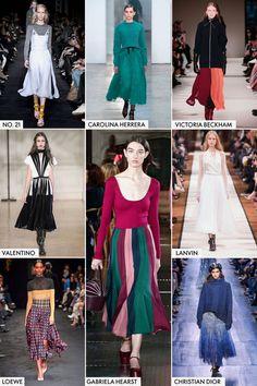 ミドルレングス    「ディオール」、「ロエベ」、「ヴィクトリア ベッカム」は今年の秋、フェミニンで優雅なミドル丈スカートを提案している。ショーではふくらはぎ辺りで揺れる丈のスカートが続々と登場した。