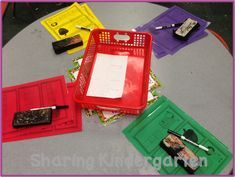 Color code activities in work stations....so they stay organized and don't get mixed up.