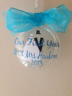 First Year Married Christmas Ornament Personalized by PYdesigned