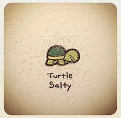 Turtlewayne on Instagram - Turtle Salty Cute Turtle Drawings, Animal Drawings, Cute Drawings, Tiny Turtle, Turtle Love, Kawaii Turtle, Cartoon Turtle, Cute Turtles, Cute Doodles