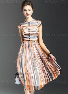 Short sleeve cstand collar retro real silk dress for women 545159f87