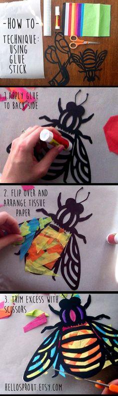 Enfants Craft papillon vitrail Suncatcher Kit avec par HelloSprout Plus Summer Crafts, Fun Crafts, Diy And Crafts, Arts And Crafts, Bird Crafts, Projects For Kids, Diy For Kids, Art Projects, Crafts For Kids