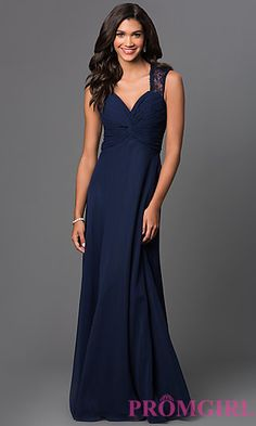 Sleeveless V-Neck Floor Length Lace Back Dress by Elizabeth K at PromGirl.com ($120)