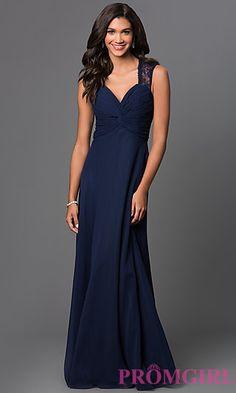 Sleeveless V-Neck Floor Length Lace Back Dress by Elizabeth K at PromGirl.com ($120)
