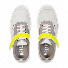 White suede, yellow rubber calfskin and grey nylon sneaker, white ultralight rubber sole. Highlights, Vans, Footwear, Elegant, Yellow, Grey, Sneakers, How To Wear, Fashion