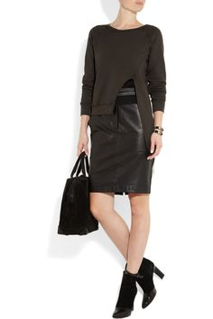 Love this as a refashion idea!  OAK|Asymmetric split-front cotton-jersey sweatshirt|NET-A-PORTER.COM
