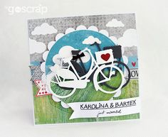 bicycle wedding - card by Magda/Papierowy Pokój #goscrap #scrapbooking #cardmaking