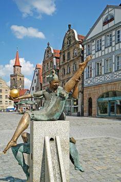 Fürth, Gauklerbrunnen fountain on the Green Market