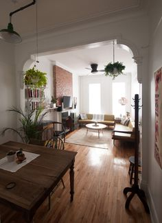 Old School Charm In A Brooklyn Railroad Apartment. Old School Charm In A Brooklyn Railroad Apartment Home Living Room, Apartment Living, Living Spaces, Small Living, Wood Living Rooms, Apartment Kitchen, Cozy Living, Modern Living, Apartment Layout