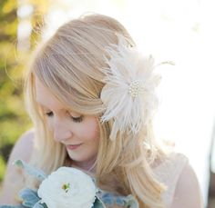 Bridal Flower Fascinator Ivory Hair Flower by SarahWalshBridal