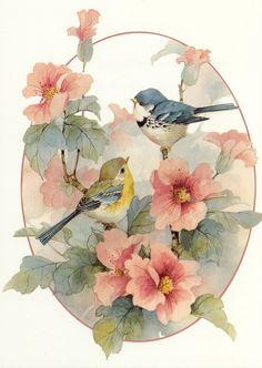 鸟儿的深情对视。花儿也完美绽放。【阿团丸子】