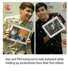 Dan looks like he wants to die, and Phil looks like he's proud of himself for making it so far.
