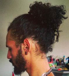 curly hair men manbun pictures