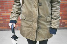 Winter wear street style on Oh Lovely Bows! Duck Boots, Keep Warm, Winter Wear, Parka, Street Styles, Military Jacket, Bows, How To Wear, Jackets