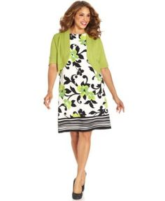 Jessica+Howard+Plus+Size+Dresses | Jessica Howard Plus Size Floral-Print Belted Dress and Jacket