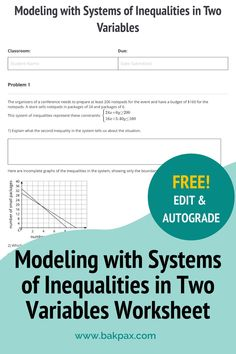 This free Modeling with Systems of Inequalities in Two Variables Geometry worksheet with answers is fully customizable and autogradable with Bakpax! Better yet, students can complete it online or on paper. Check out more standards-aligned math assignments like this one at bakpax.com. Algebra 2 Worksheets, Geometry Worksheets, Middle School, High School, Hours In A Day, Possible Combinations, Explain Why, Variables, Modeling