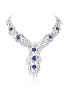 Sept Etoiles necklace, Palais de la chance collection- Platinum, diamonds, seven cushion-cut sapphires for a total weight of 33,73 carats (origin: Kashmir). The Sept Etoiles necklace, one of the masterpieces of the Palais de la chance collection, is adorned by seven unique Kashmir sapphires which depict the seven stars of the Great Bear constellation, a place of knowledge and wisdom in Hindu tradition.