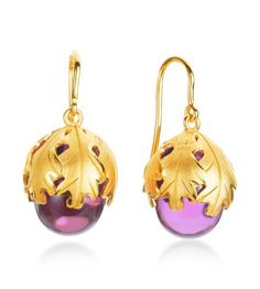 Vermeil Peony Crystal Drop Earrings.