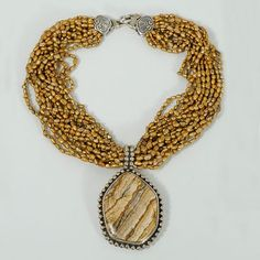 Necklace, by Jewelry Designer Stephen Dweck, 1993, Picture Jasper, Sterling Silver, Choker, golden multi-strand rice pearls, shell clasp., M...