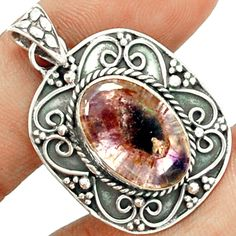 Cacoxenite Super 7 Mineral Melody Stone 925 Sterling Silver Pendant Jewelry CACP1320 - JJDesignerJewelry