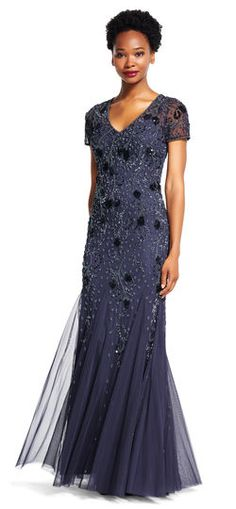 Adrianna Papell   Short Sleeve Godet Gown with Beaded Florals